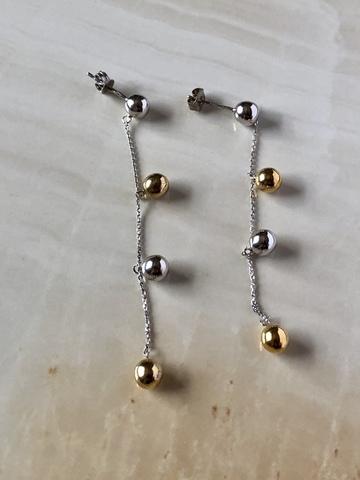 Серьги с серебряными сферами, микс