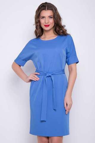 """<p><span>Современное платье прямого силуэта с поясом по талии. Рукав """"мышь"""" на манжете. Отличный офисный вариант.&nbsp;</span><br /><span>Длина платья: 46-48- 97см, 50-52-98см,54-99см</span></p>"""