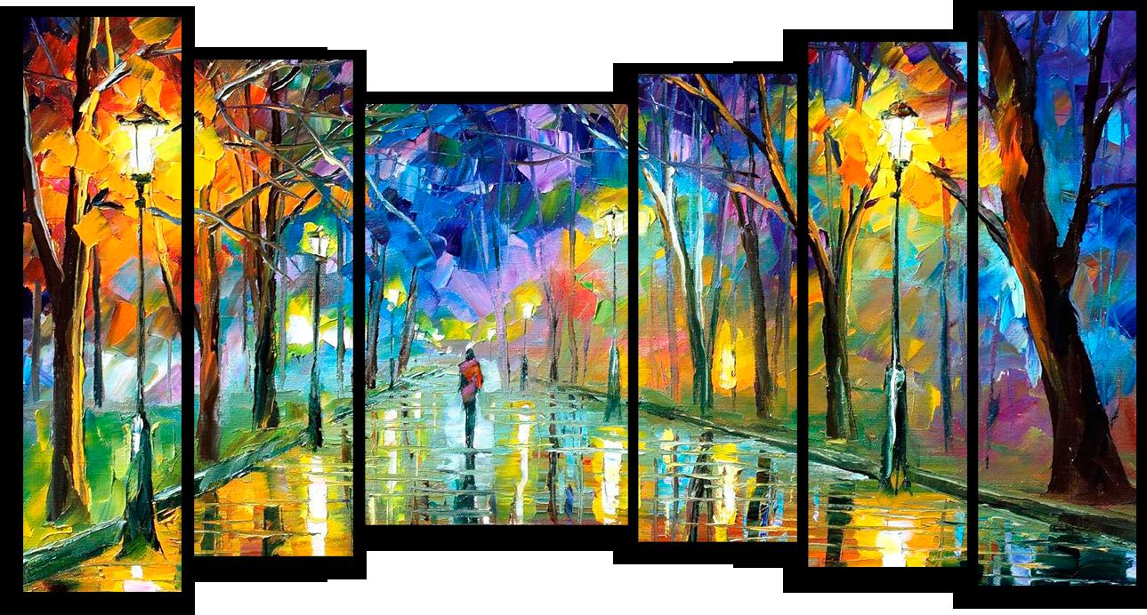 """Абстракция Модульная картина """"Одинокая прогулка в парке"""" М690.png"""
