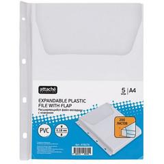 Файл-вкладыш с расширением и клапаном Attache А4 180 мкм прозрачный гладкий 5 штук в упаковке