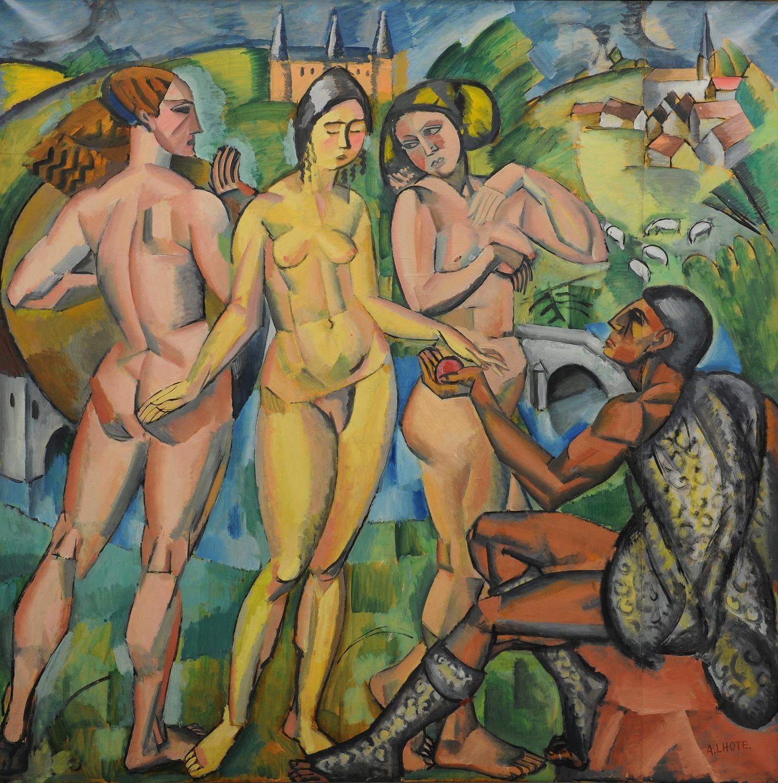 Андре Лот. 1912. Суд Париса (The Judgment of Paris). 180 х 180. Холт, масло. Валанс, Музей искусства и археологии.