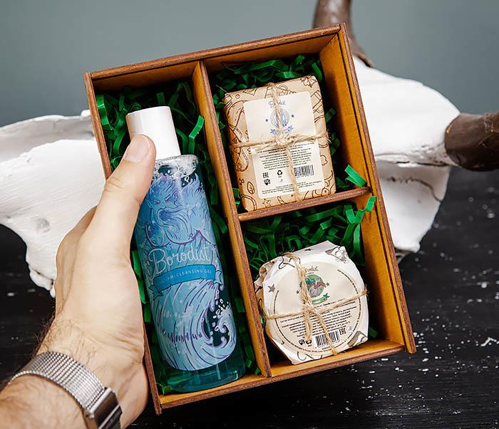 BOX245-2 Подарочная коробка из дерева с тремя отделениями внутри, А6 (19*15*8,5 см) фото 06