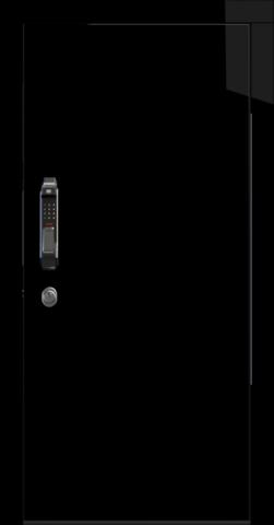 Входная дверь «Crystal» в цвете, Черный лед (эмаль глянец)