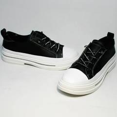 Летние туфли кроссовки без шнурков женские El Passo sy9002-2 Sport Black-White.