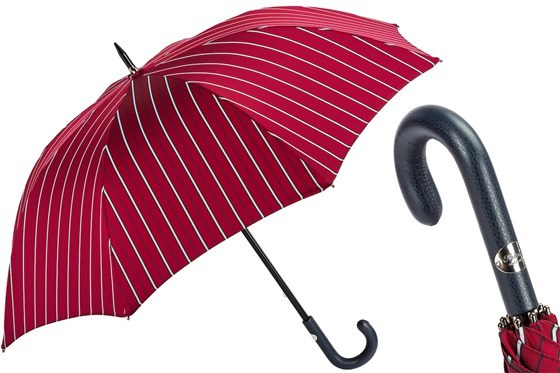 Зонт-трость Pasotti Large Striped Umbrella, Leather Handle, Италия