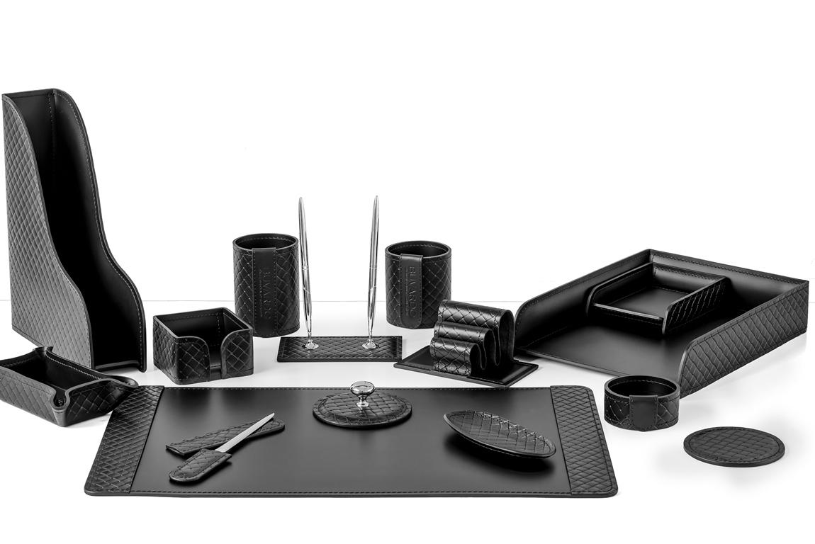 Набор руководителя из черной кожи люкс с тиснением 15 предметов