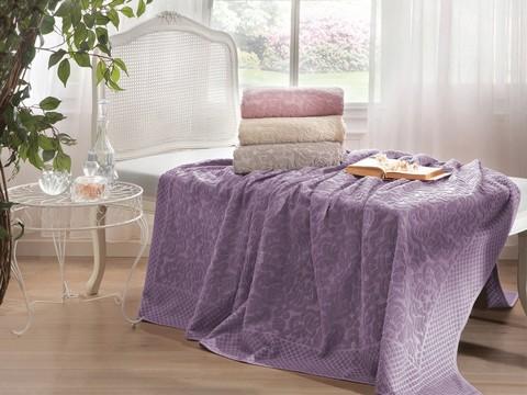 Покрывало простынь махровая  ELIPS фиолетовый TIVOLYO HOME Турция