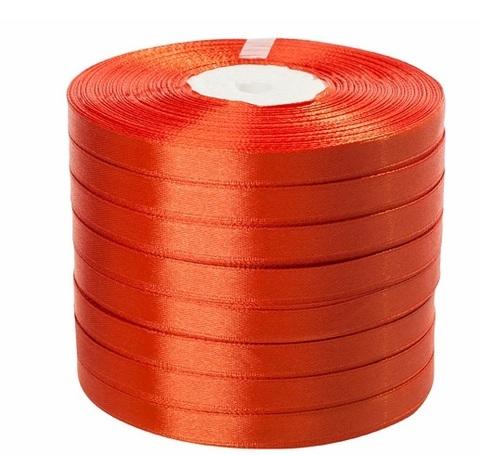 Лента атласная (размер: 10 мм х 50 ярд) Цвет: оранжевая