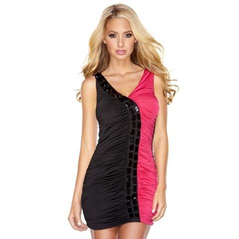 Двуцветное присборенное платье - Hustler Lingerie CW12