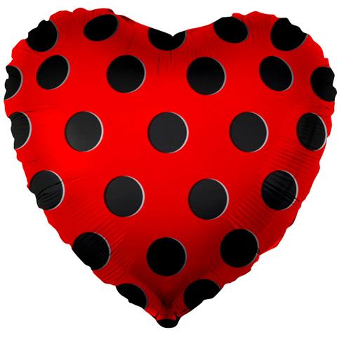 Шар Сердце Красное, Черные точки, 46 см