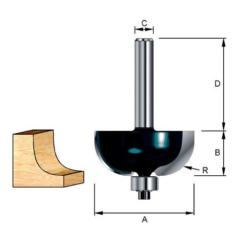 Фреза кромочная галтельная 15,5х32х9,5х8 мм; R=3 мм