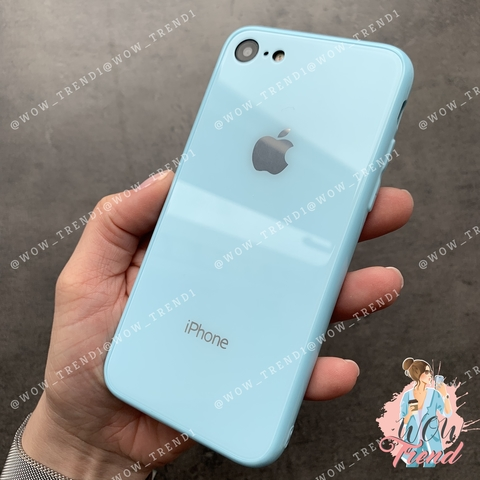 Чехол iPhone 7/8 Glass Full color Case Logo /blue/
