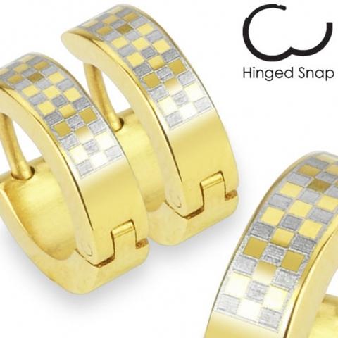Недорогие золотистые серьги кольца из нержавеющей ювелирной стали SPIKES SE2065