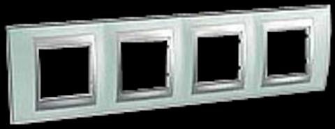 Рамка на 4 поста. Цвет Флюорит-алюминий. Schneider electric Unica Top. MGU66.008.094