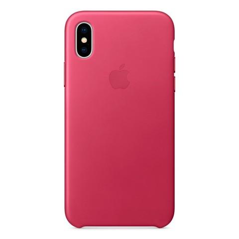 Чехол iPhone XS Max Leather Case /pink fuchsia/