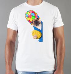 Футболка с принтом собаки (Собачки, Французский бульдог) белая 0062