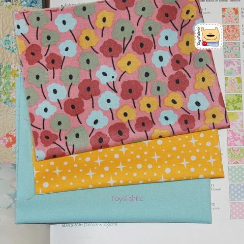 Мини набор тканей для пэчворка М5634 Цветы (22х27см/3шт.)