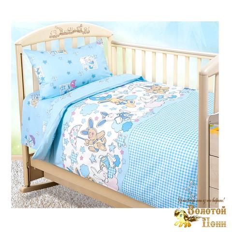 Комплект белья в кроватку поплин (простынь на резинке) 191005-А-3130