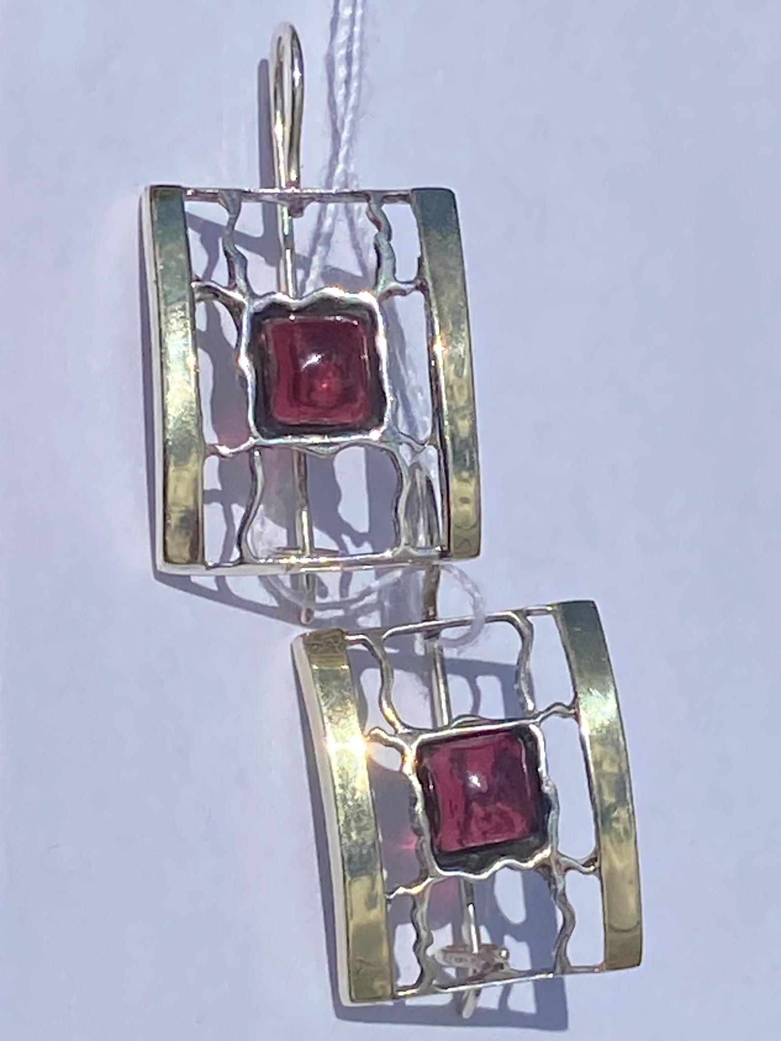 Гранат 1506 (серьги из серебра/золота)