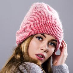 Вязаная женская шапка - колпак с отворотом, ангора (красная)