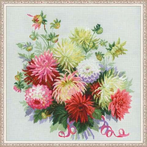 производитель РИОЛИС ¶артикул 1384¶размер 45х45¶техника счетный крест¶тематика цветы¶состав канва 14
