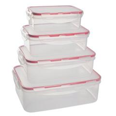 Набор контейнеров для продуктов Clipso прямоугольных 0,5/1/1,5/2,5л GR1847
