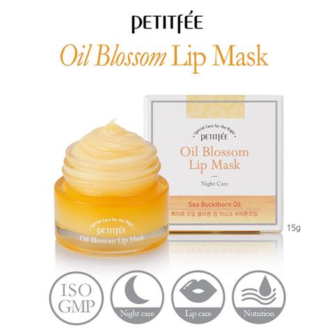 Ночная маска для губ c маслом облепихи Petitfee Oil Blossom Lip Mask Sea Buckthorn Oil
