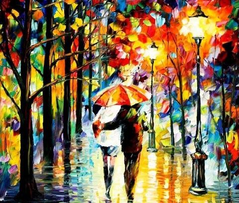 Алмазная Мозаика 30x40 Прогулка влюбленных под дождем (арт. GB70672)