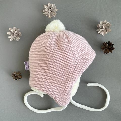 Утепленная шапка для новорожденных  (0-3 мес, розовый)