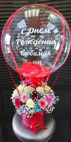 Розы в коробочке и шар bubble #1345