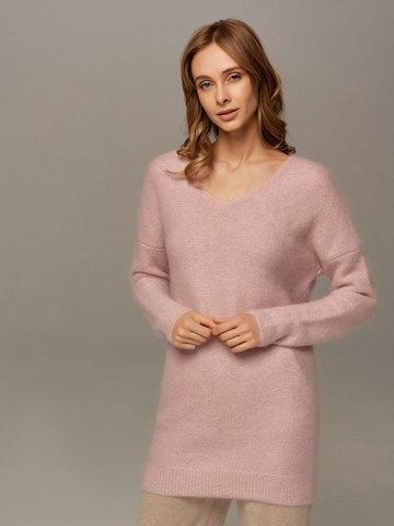 Женский удлиненный джемпер светло-розового цвета с V-образным вырезом - фото 5