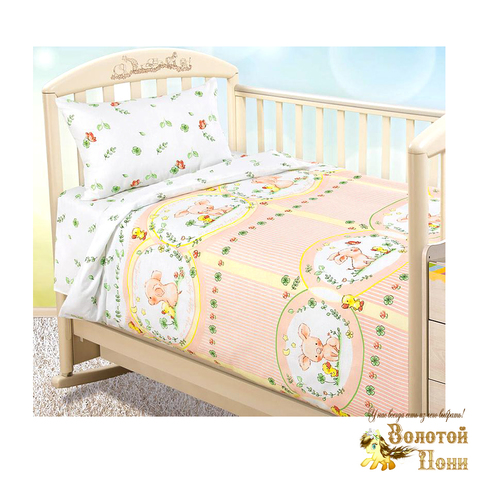 Комплект белья в кроватку бязь (простынь на резинке) 191005-А-3131