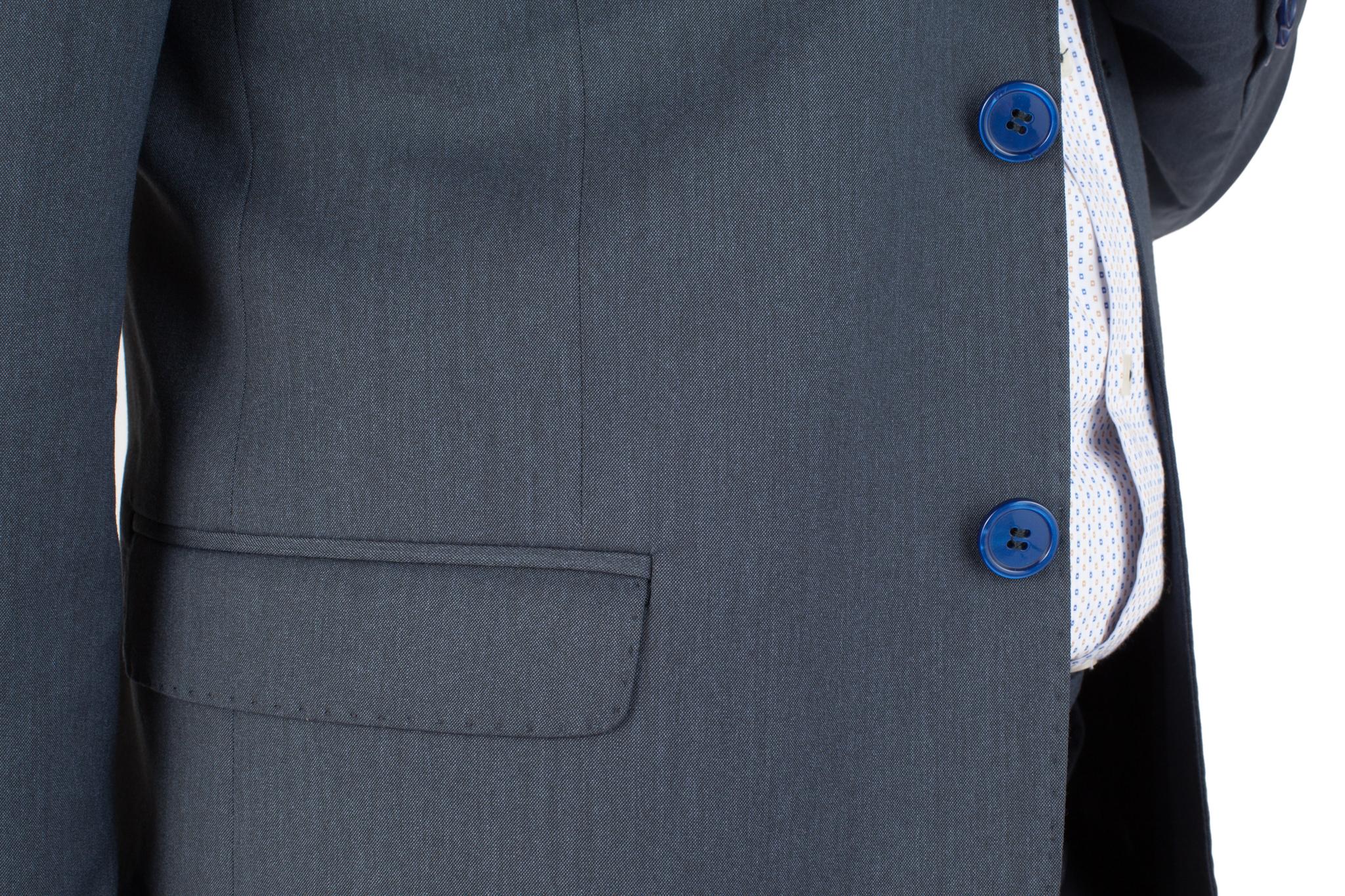 Тёмно-синий шерстяной костюм, накладной карман