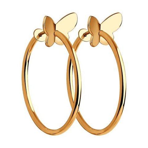 029051 - Серьги-кольца с бабочками из золота