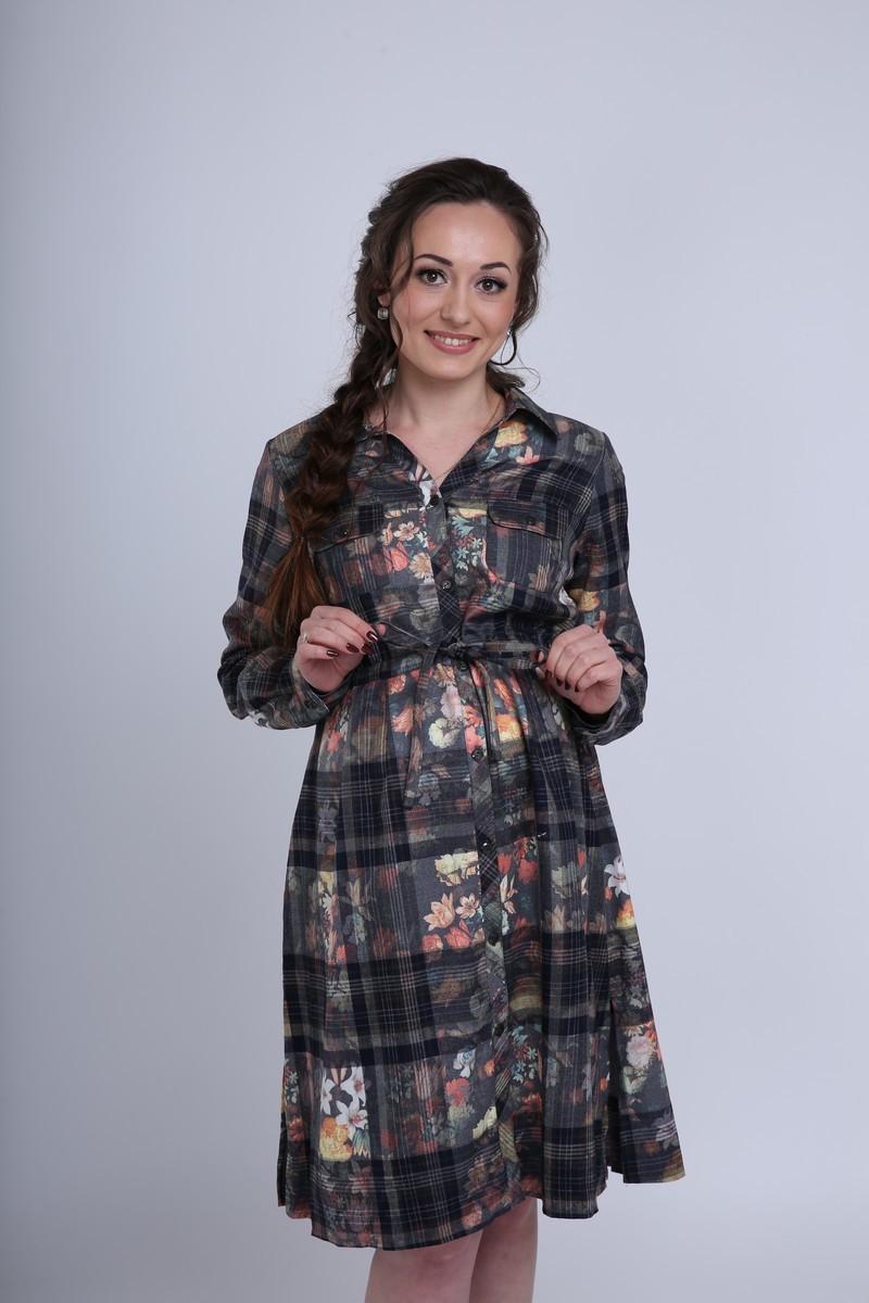 Фото платье-рубашка для беременных Magica bellezza от магазина СкороМама, цветной, клетка, размеры.