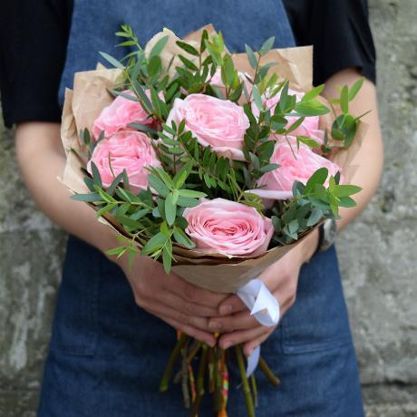 Купить букет 7 пионовидных роз Пинк ОХара в Перми