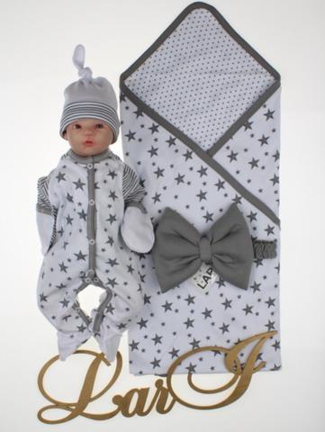 Летний набор на выписку новорожденных из роддома Звездопад (белый)