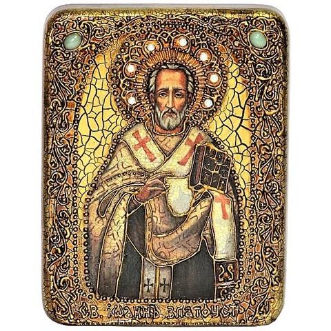 Инкрустированная рукописная икона Святитель Иоанн Златоуст 20х15см на натуральном дереве в подарочной коробке