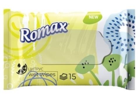Салфетки влажные гигиенические освежающие с ароматом ЦИТРУСА, 15 шт. (Romax)