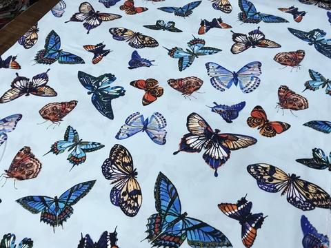 Ткань хлопок сатин с эластаном  голубой  с бабочками 2108