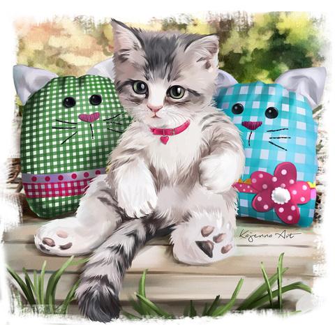 Картина раскраска по номерам 30x40 Котенок и смешные подушки