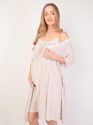 Евромама. Комплект для беременных и кормящих с коротким рукавом и кружевом большие размеры, меланж бежевый