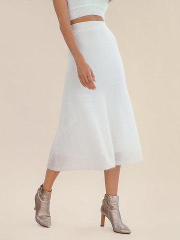 Женская юбка молочного цвета из мохера - фото 3