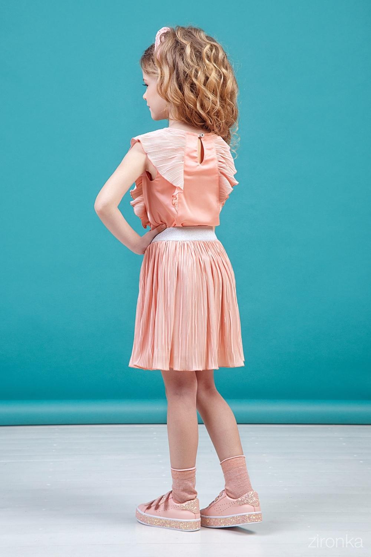Комплект (юбка, блузка) абрикосовый для девочки 64-9006-1