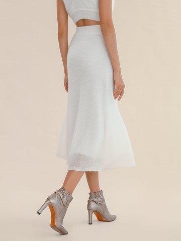 Женская юбка молочного цвета из мохера - фото 5