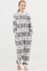 """Детская пижама-комбинезон """"Скандинавские узоры"""" с молнией серая"""