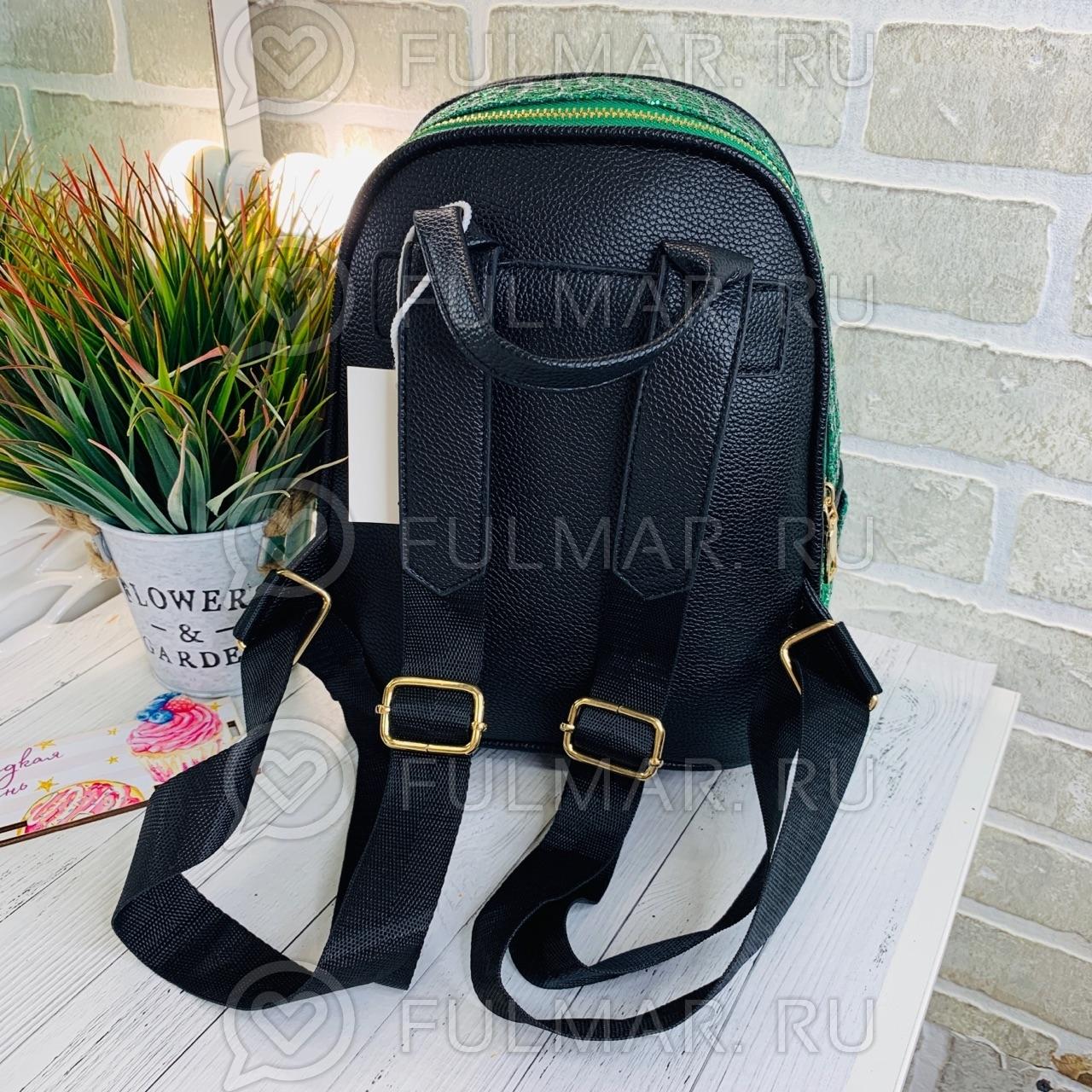 Картинка - Рюкзак блестящий для девочки Mila (цвет: зелёный)28х20х13 см
