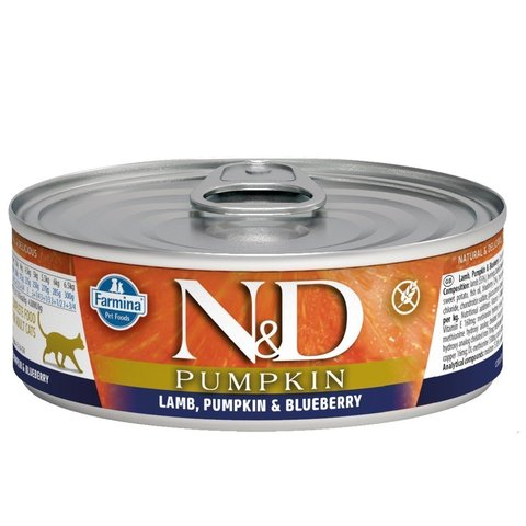 Farmina N&D Cat консервы для кошек (ягненок, тыква и черника) 80 г