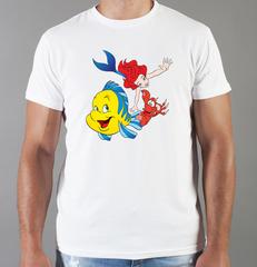 Футболка с принтом Ариэль (С русалочкой, мультфильм) белая 002
