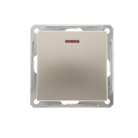 Выключатель одноклавишный с подсветкой, 16АХ. Цвет Шампань. Schneider Electric Wessen 59. VS116-153-4-86
